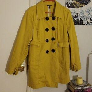 Trendy and cute yellow pea coat